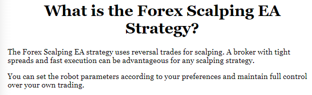 The trading approach of Forex Scalping EA