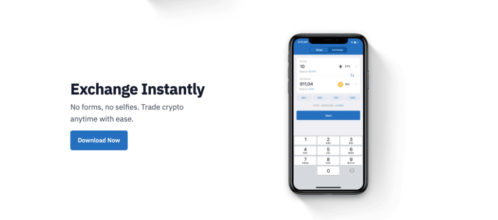Text on the screen: Exchange Instantly