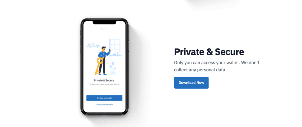 Text on the screen: Private &Secure